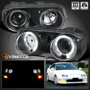 For Black 1994 1997 Acura Integra LED Halo Projector Headlights Lamps LeftRight $108.38