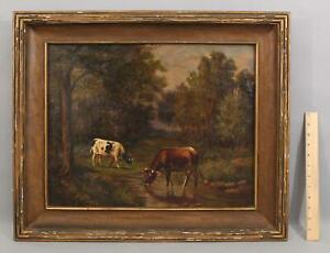 Antique Signed Sayres American Bucolic Country Cow Wooded Landscape Oil Painting