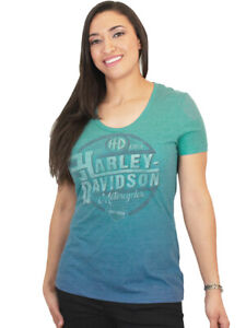 Harley Davidson Womens Sublimated Ombre Green Blue Short Sleeve Scoop T Shirt $6.99
