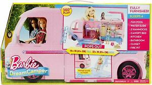 NEW Dream Camper Adventure Camping Playset With Accessories Rolling Wheels Pink