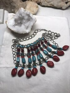 BOHO GYPSY NECKLACE STATEMENT RED CORAL TURQUOISE CRYSTAL BEADS BIG SILVER C