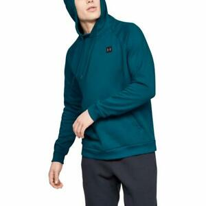 Under Armour Men's Rival Fleece Hoodie, Teal Vibe 417 Black, Small $22.95