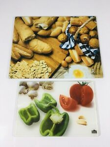 Gourmet Traditions Chop Topper Cutting Board Tray Trivit Tempered Glass Pair 2