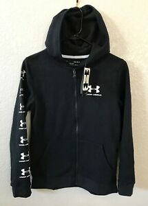 NWT Under Armour Boys Youth L BlackWhite Cold Gear Zip Up Hoodie LARGE $18.95