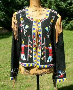 Amazing Western Hairston Roberson Fully Beaded Suede Jacket RARE Large Black
