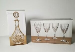 Dublin Crystal Wine Decanter And Set Of 4 Goblets Brand New