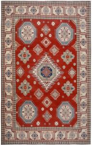 Geometric RED/IVORY Super Kazak Oriental Area Rug Hand-Made Large Carpet 10'x14'