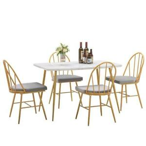 New 5 Piece Dining Table Set 4 dining chairs Marble Dining Table Dinner Kitchen