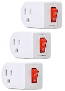 3 Prong Grounded Single Port Power Adapter with Red Indicator On/Off switch