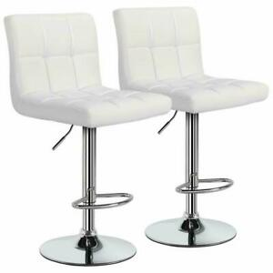 2 PCS Adjustable Bar Stools Counter Height PU Leather Barstool Swivel Pub Chairs