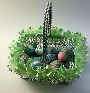 Silver Metal Easter Basket with Vintage 17 Hand Painted Wooden Egg Ornaments