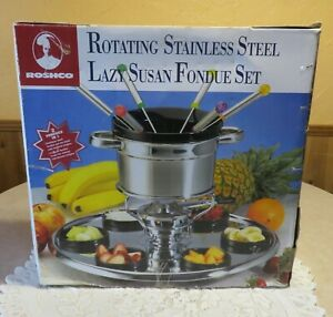 ROSHCO Rotating Stainless Steel LAZY SUSAN FONDUE SET *New In Box*