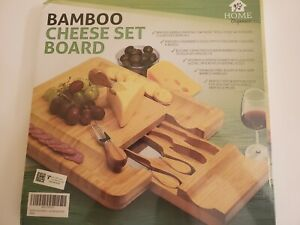 Bamboo Cheese Set Board and Serving Utensils. Home Organics.