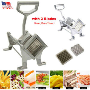 Potato French Fry Fruit Vegetable Cutter Slicer Cutting Tool Aluminum 3 Blades