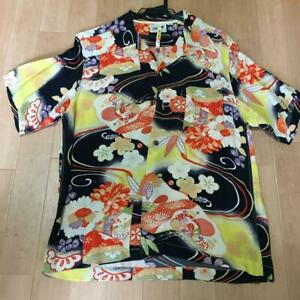 Sun Surf SS30690 KIMONO DESIGN ALOHA by KING SMITH SIZE M Navy RAYON USED