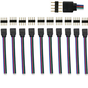 10Pcs 4 Pin Male/Female Connector Wire Cable for 3528 5050 RGB LED Strip Light