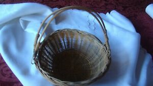 Beautiful Antique Basket With Swing Handles 7.5quot; round Ornate $9.99
