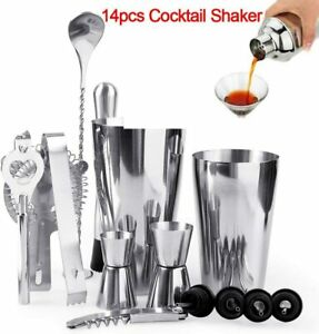 14x Cocktail Shaker Set Stainless Steel Bartender Kit with Drink Mixing Bar Tool