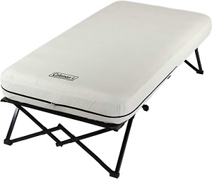 Folding Camp Cot Air Bed Side Tables and Battery Operated Pump Double Lock Valve