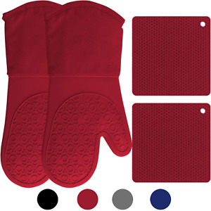 Silicone Oven Mitts and Pot Holders, 4-Piece Set, Heavy Duty Cooking Glove
