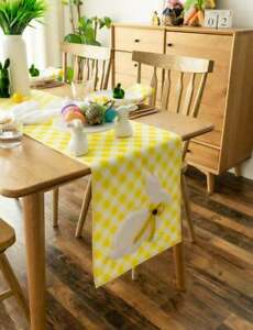Easter Bunny Yellow Check Table Runner $28.99
