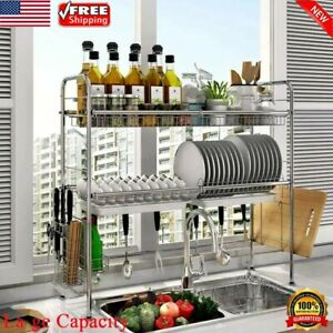 Over Sink Dish Drying Rack 3-Tier Stainless Steel Cutlery Drainer Kitchen Shelf