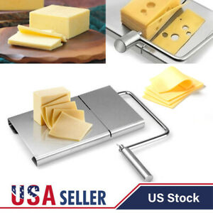 Stainless Steel Cheese Butter Slicer Cutter Board With 5 Cutter Baking Tool US