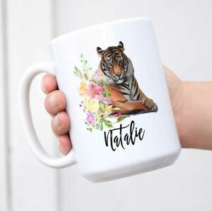 Personalized Name Tiger Coffee Mug Watercolor Floral Wild Animal Mug with Custom