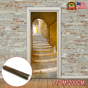 3D Self Adhesive Door Mural Stone Steps Stairs Wall Sticker DIY Home Decor 2M