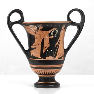Ancient Greek Museum Replica Red Figure Vase with Nike and Zeus Pottery Greece $98.00