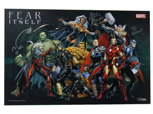 Fear Itself Lithograph Signed by Quesada Alonso Brevort Midtown Comics 58100