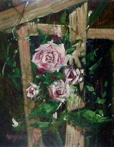 VICTORIAN ROSES  original oil painting on canvas Micheal W. Jones