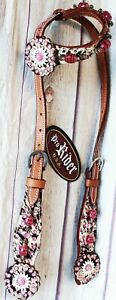 Horse Show Bridle Western Leather Headstall Tack Pink 76138H $39.99