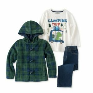 Kids Headquarters Infant Boy Camping Outfit Pants Shirt Green Plaid Jacket