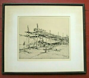 Signed Etching 1909 Shoreline Boat Building Martin Hardie Nicely Framed Rye