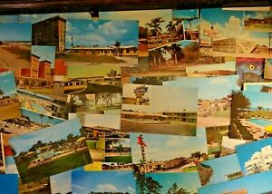 LOT OF 50  VINTAGE CHROME POSTCARDS *** UNUSED USA & FOREIGN , ALL SIZES