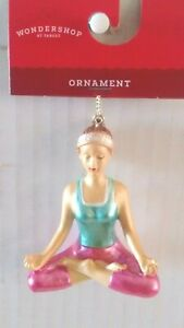 Wondershop Target Woman Meditate Yoga Exercise Glass Christmas Ornament 3quot; NWT