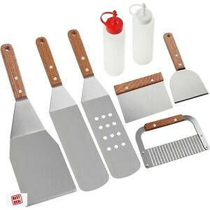 Griddle Cleaning Kit BBQ Grill Spatula Set Stainless Steel Accessories 8Pc
