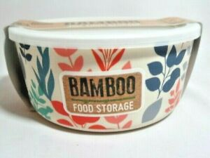 Cool Gear Bamboo 40 oz Food Storage Container BPA Free Opaque Plastic Lid Floral