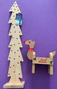 2PCS Christmas Tree Wooden Ornaments Decoration Gift -For Hanging Lights -29x6In