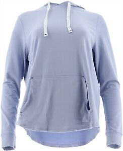 AnyBody Loungewear Cozy Knit Light French Terry Hoodie Peri 1X NEW A306955