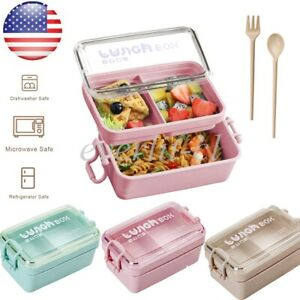 Lunch Box 2 Layer Wheat Straw Bento Box Food Storage Container For Adult