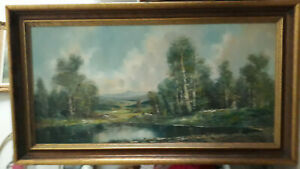 Vtg-Antique Large Signed Oil Mountain Water Landscape Painting Heavy Wood Frame $699.00