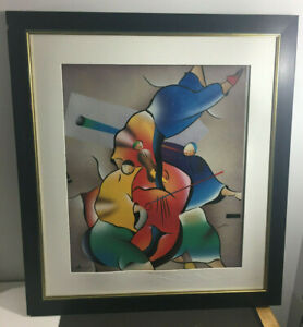 VINTAGE FRAMED SIGNED MODERN ART ABSTRACT OIL PAINTING 32.5 X 29.25 $149.99