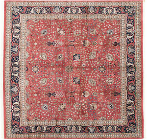 RRA 12x12 Square Indo Tabriz Allover Design Rose-Red Rug 16378