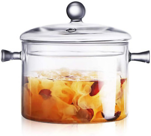 Glass Saucepan with Cover, 1.5L/50 FL OZ Heat-resistant Glass Stovetop Pot and P