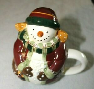 Debbie Mumm Covered Mug Snow Angel Snowman Cocoa Coffee Tea Cup Collectible