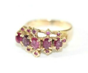 Vintage RUBY 14K YELLOW GOLD Womens Ring: SIZE 4.75 4.3 Grams