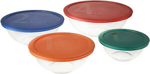 Pyrex Smart Essentials Mixing Bowl Set Including Locking Lids (Clear) 8 piece