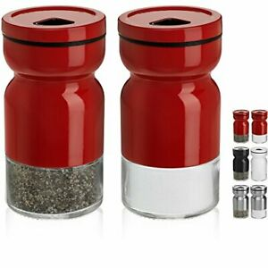 CHEFVANTAGE Salt and Pepper Shakers Set with Adjustable Pour Holes  Red